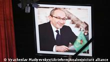 KHARKIV, UKRAINE - DECEMBER 23, 2020 - The photograph of late Kharkiv city head Hennadii Kernes is pictured during the funeral ceremony at the Mykola Lysenko National Academic Opera and Ballet Theatre, Kharkiv, northeastern Ukraine. Hennadii Kernes passed away from COVID-19 complications at the Charite Clinic in Berlin on the night of December 16-17., Credit:Vyacheslav Madiyevskyy / UkrInform / Avalon