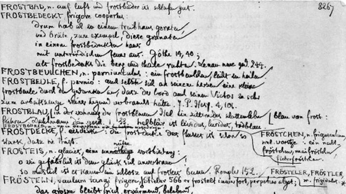 Uno de los manuscritos de Jacob Grimm del Diccionario Alemán