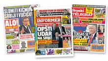 Bildkollage Serbischer Zeitungen: Alo!, Informer und Srpski telegraf