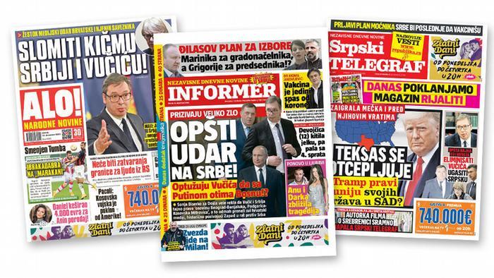 Neke od naslovnih strana posvećenje izmišljenom lomljenju kičme