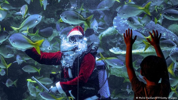 BdTD - Malaysia   Weihnachtsmann im Aquarium in Kuala Lumpur