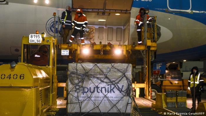 Argentinien Ankunft der Impfung Sputnik V