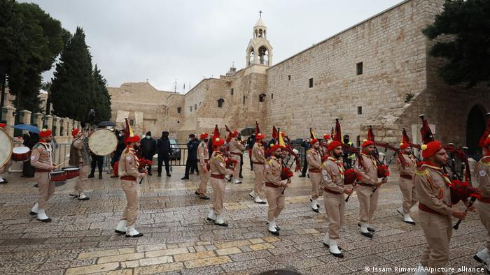 Palestinian marching band parade as part of Christmas celebrations in Bethlehem