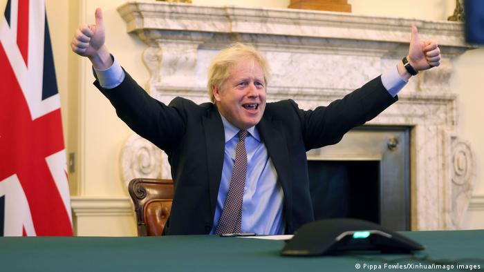 UK Prime Minister Boris Johnson with thumbs up