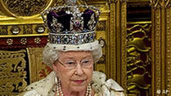 Britain's Queen Elizabeth II makes her speech to the House of Lords, during the State Opening of Parliament in Westminster, London. Tuesday May 25, 2010. Queen Elizabeth II has opened Parliament nearly 60 times, but she will have an unfamiliar task Tuesday as she sets out the legislative program of a coalition government the country's first since World War II. (AP Photo/ Leon Neal/Pool)