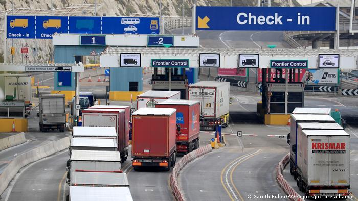 Trucks arrive at the port of Dover