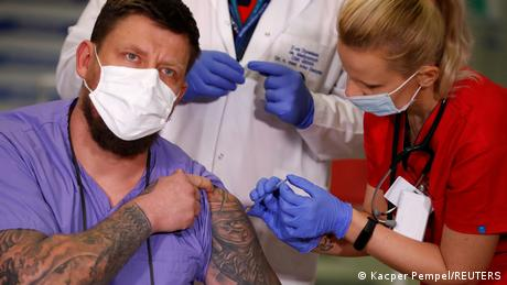 A Polish health care worker received the vaccine
