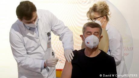 Andrej Babis is given the coronavirus vaccine
