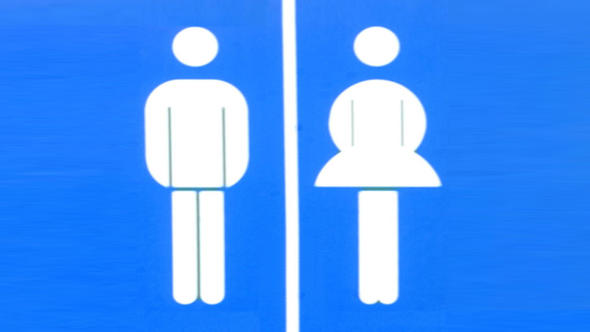 A bathroom sign showing male on the left and female on the right