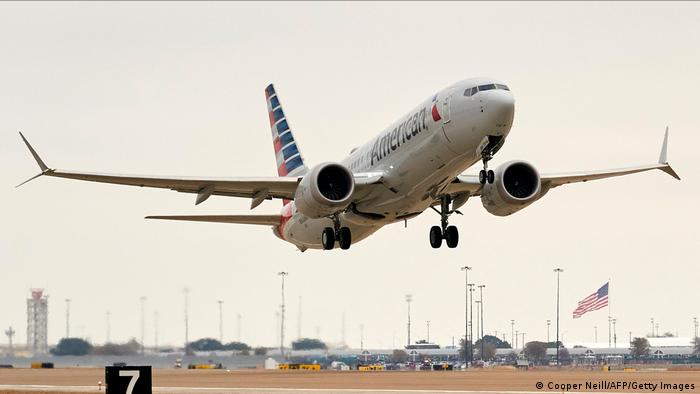 A Boeing 737 MAX airplane takes off on a test flight from Dallas-Fort Worth International Airport in Texas