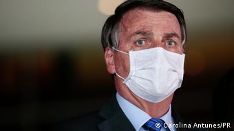 Brasilien Brasilia Präsident Jair Bolsonaro mit Maske