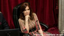 BUENOS AIRES, ARGENTINA - DECEMBER 29: President of the Senate and Argentina's Vice President Cristina Fernandez looks on as senators decide on legalization of abortion on December 29, 2020 in Buenos Aires, Argentina. The proposal authorizes legal, voluntary and free interruption of pregnancy until the 14th week while allowing doctor's conscientious objection. It is the ninth bill to legalize abortion treated by the Argentine Congress and the first one publicly supported by the president of the country. (Photo by Ricardo Ceppi/Getty Images)