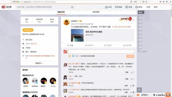 Screenshot Weibo   China Gedenken an Arzt Arzt Li Wenliang aus Wuhan