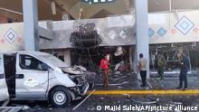Jemen | Beschädigtes Flughafengebäude nach Bombenanschlag