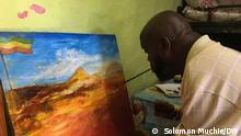 Äthiopien Addis Abeba   Maler Yosef Bekele malt trotz Behinderung
