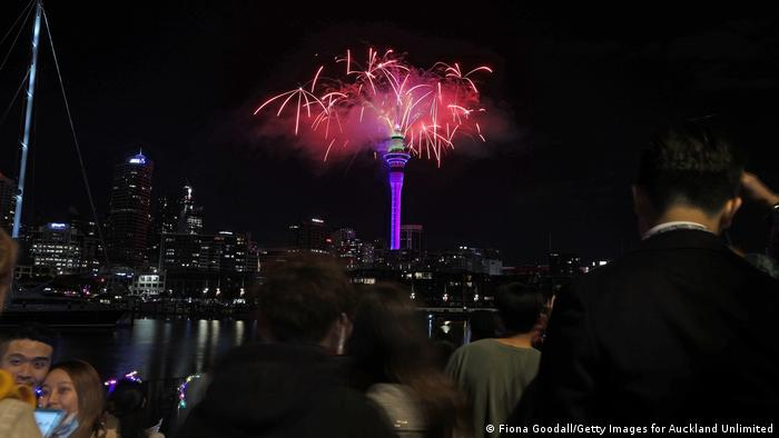 New Year's Eve firework display from the Sky Tower in Auckland, New Zealand