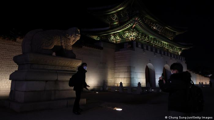 A dark Gwanghwamun gate in Seoul, South Korea on New Year's Eve