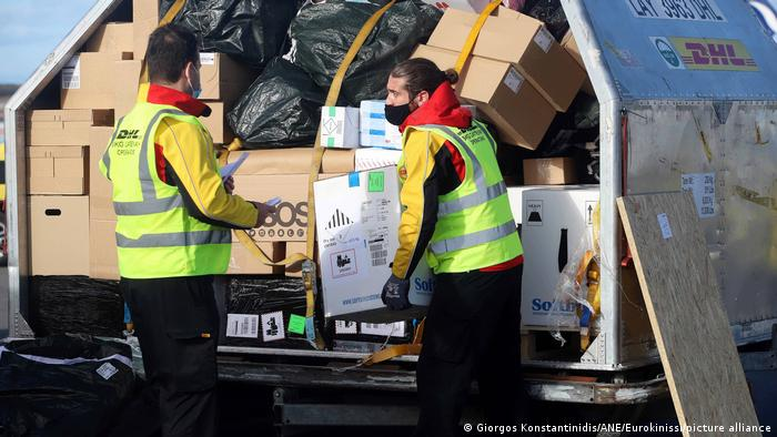 Vaccines being delivered with cargo at Greek airport