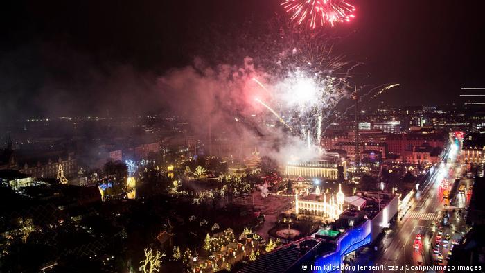 丹麦首都哥本哈根举行大规模烟花晚会,是怎么做的少数欧洲城市中的好一个