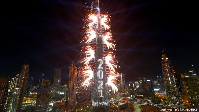 A fireworks show at the Burj Khalifa skyscraper in Dubai