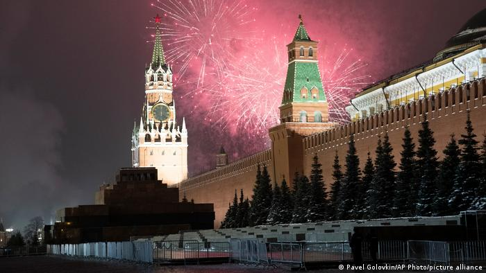 Fireworks exploding over the Kremlin in Moscow