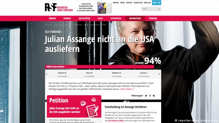 Screenshot | Petition gegen die Auslieferung von Julian Assange an die USA