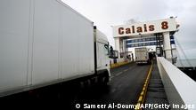 Trucks driving onto a ferry in Calais