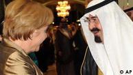 صدراعظم آلمان در کنار ملک عبدالله، پادشاه عربستان سعودی