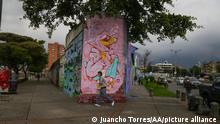 Graffiti um Gesundheitspersonal in Kolumbien zu danken