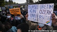 Stundeten der Uni Boğaziçi (Bosporus) Proteste gegen den neuen Rektor