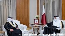 DOHA, QATAR - JANUARY 04: (----EDITORIAL USE ONLY – MANDATORY CREDIT - QATARI EMIRATE COUNCIL / HANDOUT - NO MARKETING NO ADVERTISING CAMPAIGNS - DISTRIBUTED AS A SERVICE TO CLIENTS----) Qatari Emir Sheikh Tamim bin Hamad al-Thani (R) meets Kuwait Foreign Affairs Minister Sheikh Ahmad Nasser al-Sabah (L), in Doha, Qatar on January 04, 2021. Qatari Emirate Council/Handout / Anadolu Agency