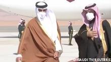 ولي العهد السعودي مستقبلا أمير قطر الذي شارك في قمة العلا التي مهدت للمصالحة.