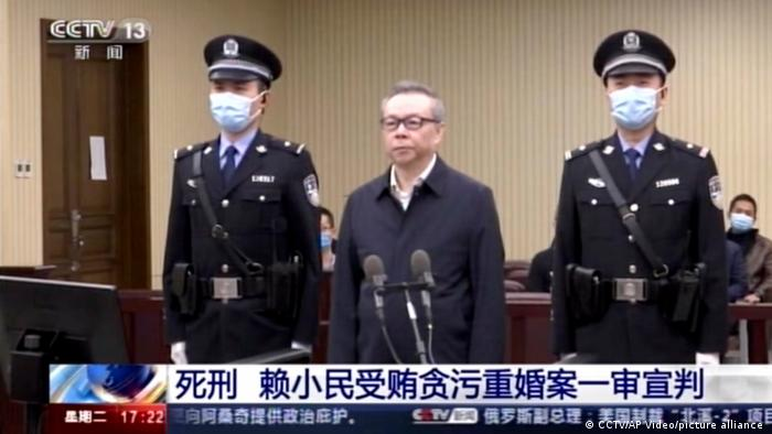 Lai Xiaomin, the former head of the state-owned China Huarong Asset Management Co.Ltd., attends court in Tianjin, China