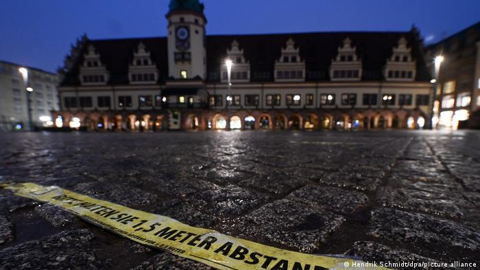 An empty square in a German town during lockdown.