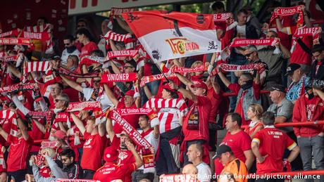 Union Berlin fans in the stadium against Augsburg at the start of the season