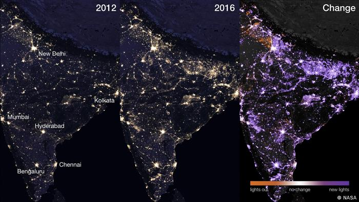 A satellite picture of India at night