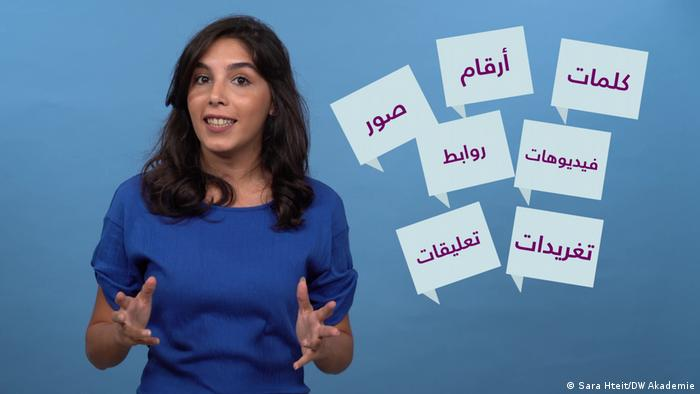 In her tutorials, data journalist Sara Hteit explains what counts. Screenshot from a tutorial bySara Hteit: Data against Fake News