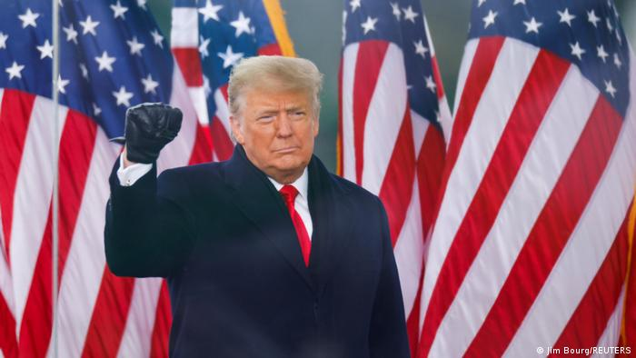 U.S. President Donald Trump makes a fist during a rally to contest the certification of the 2020 U.S. presidential election results by the U.S. Congress, in Washington, U.S, January 6, 202