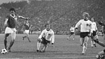 East German players on the pitch