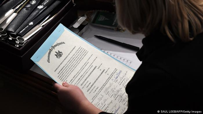 A person holds the certificate of votes from the commonwealth of Pennsylvania