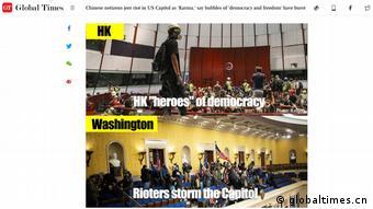 Screenshot Global Times, China |Ausschreitungen USA