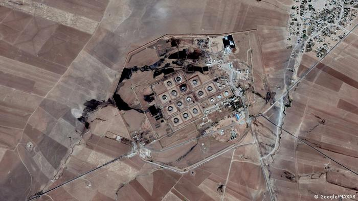 A 2017 satellite picture of the Gir Zero oil facility in northeastern Syria