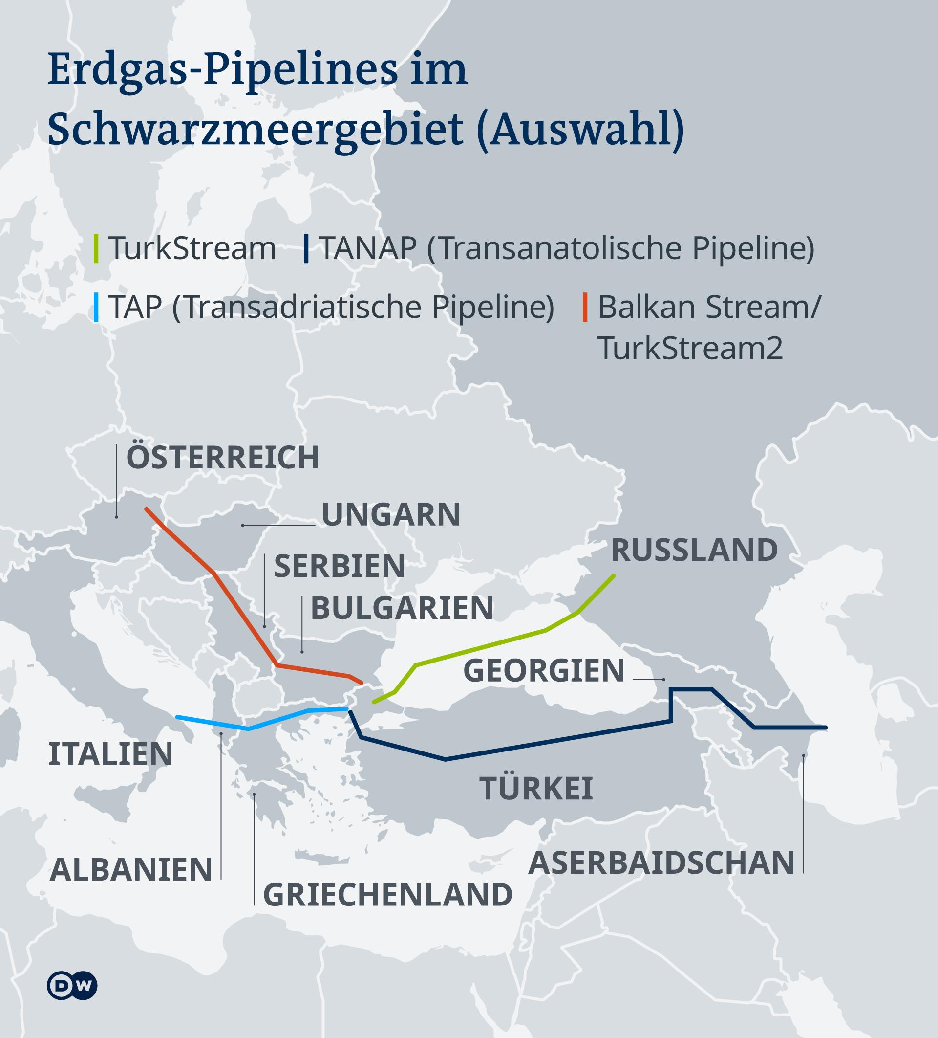 Infografik Karte Erdgas-Pipelines Schwarzmeer DE