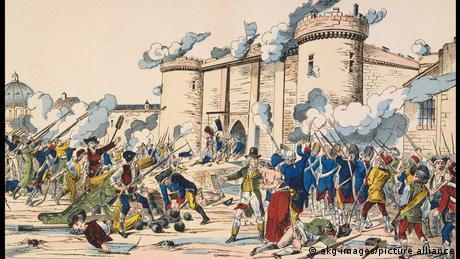 The storming of the Bastille, a lithograph from 1840