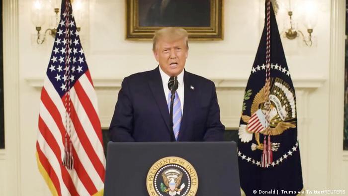 Em mensagem de vídeo, presidente dos EUA, Donald Trump, admite fim de seu mandato na Casa Branca