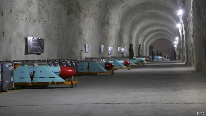 Missiles lie waiting in an underground corridor