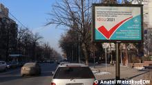 Wahl-Plakat zur Parlamentswahlen-2021 in Kasachstan, Alma Aty