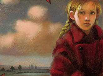 Part of the cover of Malka Mai is shown, with a young girl peering forward as clouds loom in the background