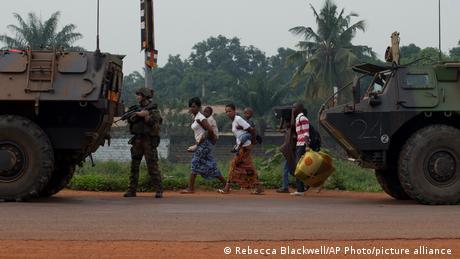 Fleeing residents in Bangui