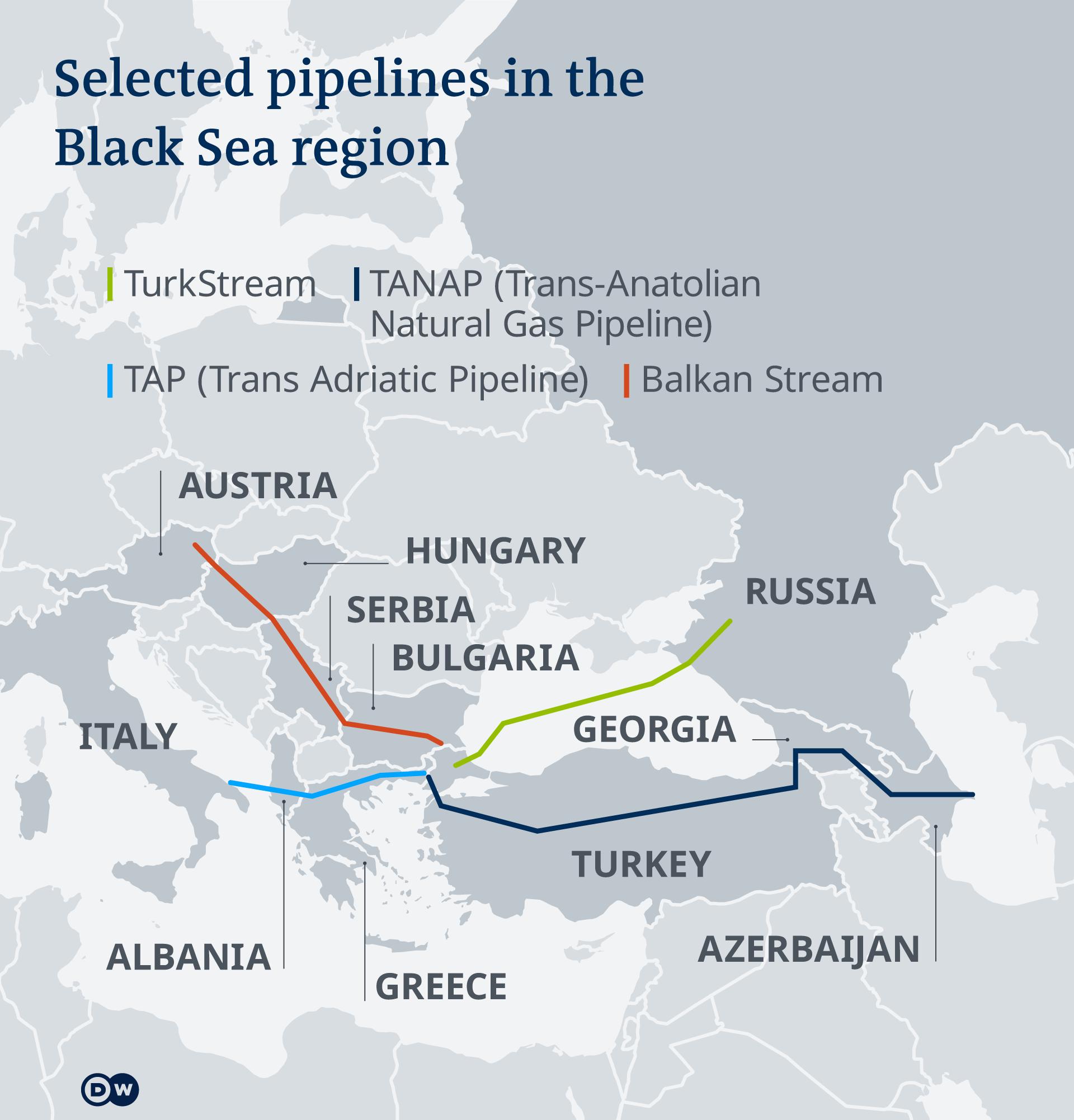 Χάρτης που δείχνει τους τέσσερις πιο σημαντικούς αγωγούς φυσικού αερίου στην περιοχή της Μαύρης Θάλασσας, συμπεριλαμβανομένων των Turk Stream, Balkan Stream, TAP και TANAP.